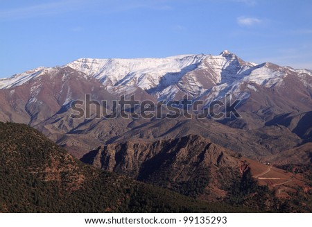 Morocco The High Atlas Mountain range between Marrakesh, Ait Ben Haddou and Ouarzazate - stock photo