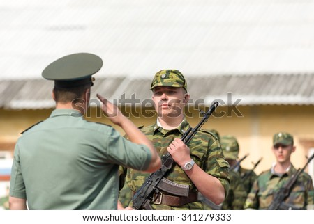 MOROZKI, RUSSIA - July 14, 2007 - Young Russian soldiers on a military Oath day in army - stock photo