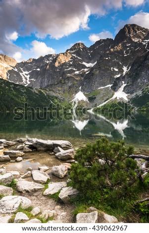 Morskie Oko lake in Tatra Mountains Range in Poland - stock photo