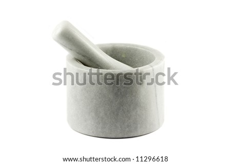 Mortar and Pestle isolated on white backgorund - stock photo