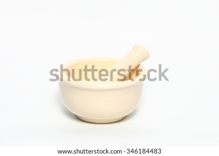 mortar and pestle of pharmacy isolated on white background - stock photo