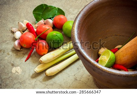 mortar and pestle, thai cooking tool , still life - stock photo
