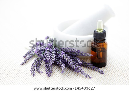mortar and pestle with lovely lavender flowers - beauty treatment - stock photo
