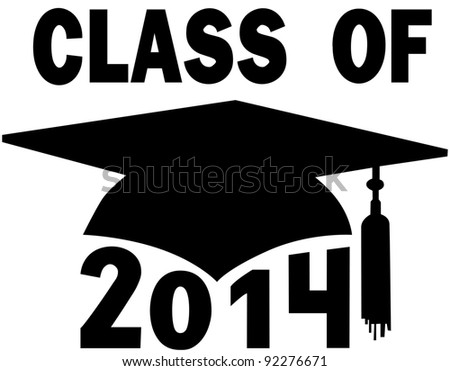 Mortar board Graduation Cap for a College or High School graduating Class of 2014. - stock photo