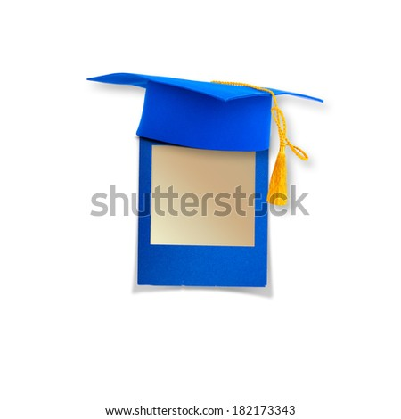 Mortar board or graduation cap with paper leaf  isolated on white background - stock photo