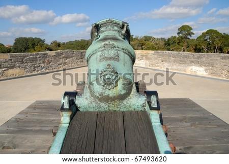 mortar cannon at the castillo de san marcos st augustine florida - stock photo