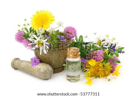 Mortar with fresh flowers and essential oil isolated on white background - stock photo