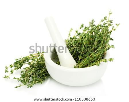 mortar with fresh green thyme isolated on white - stock photo
