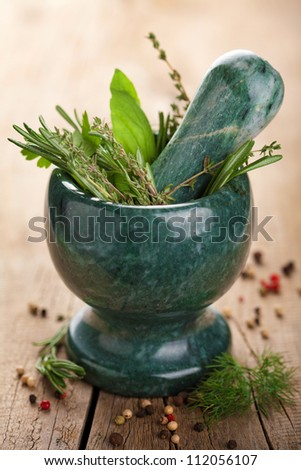 mortar with fresh herbs - stock photo