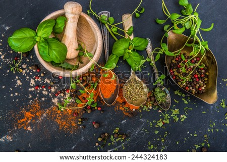 mortar with herbs and spices on a dark background - stock photo