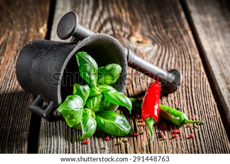 Mortar with intensive condiments - stock photo