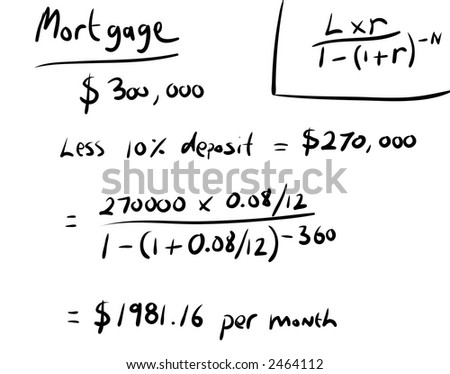 Mortgage calculation handwritten. - stock photo