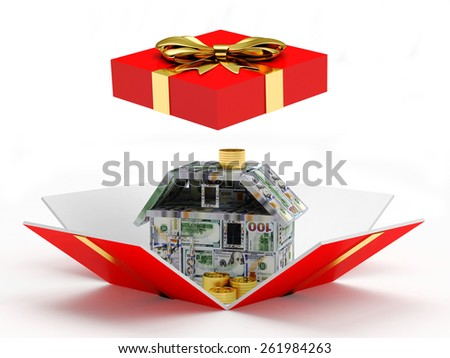 Mortgage concept. House made of dollar bills inside a red gift box with golden ribbon and bow isolated on white background - stock photo