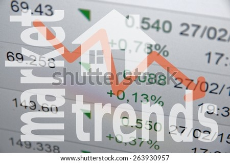 Mortgage concept. House sign & downward arrow. - stock photo