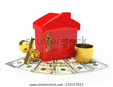 Mortgage concept. Red house, golden coins and percent sign on dollar bills isolated on white background  - stock photo