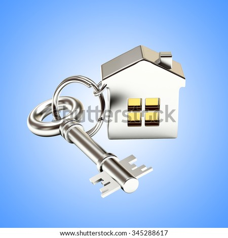 Mortgage concept. Silver key with house on blue background - stock photo