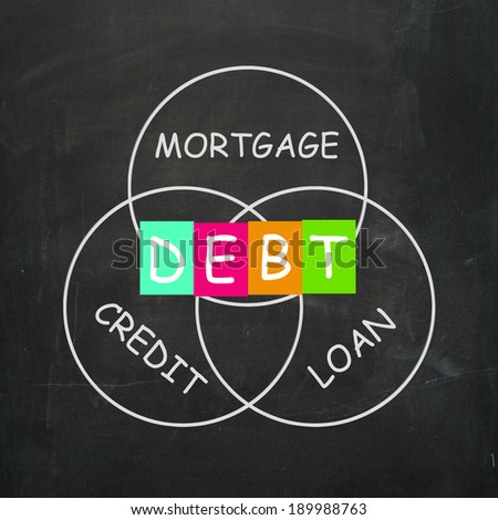 Mortgage Credit and Loan Meaning financial Debt - stock photo