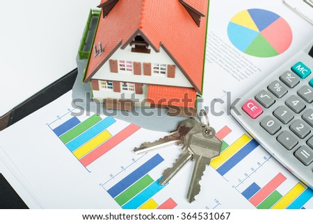 Mortgage loading and calculator property document concept. - stock photo