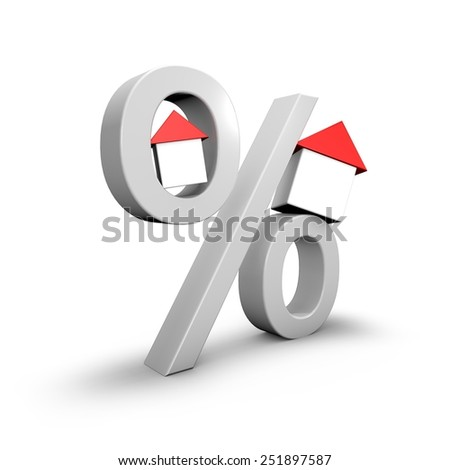 Mortgage loan concept with percent symbol and small 3d houses, isolated on white. - stock photo