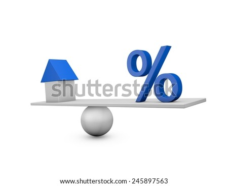 Mortgage percentage changes concept with house, and loan percentage symbol. Illustration isolated on white. - stock photo