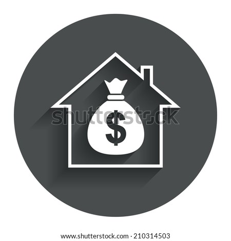 Mortgage sign icon. Real estate symbol. Bank loans. Circle flat button with shadow. Modern UI website navigation. - stock photo