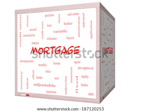 Mortgage Word Cloud Concept on a 3D cube Whiteboard with great terms such as loan, home, banker and more. - stock photo