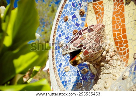 Mosaic - a lizard in the park Guell - stock photo