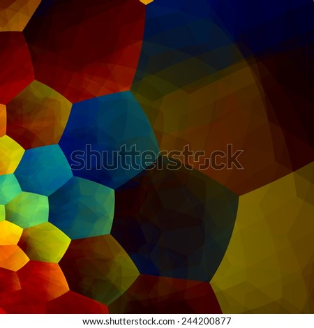 Mosaic Abstract Background - Generative Art Red Blue Yellow Color - Design Element in Rainbow Colours - Geometric Colorful Banner - Artistic Image Fantasy - Hex Pattern - Hexagonal Texture - Spectrum - stock photo