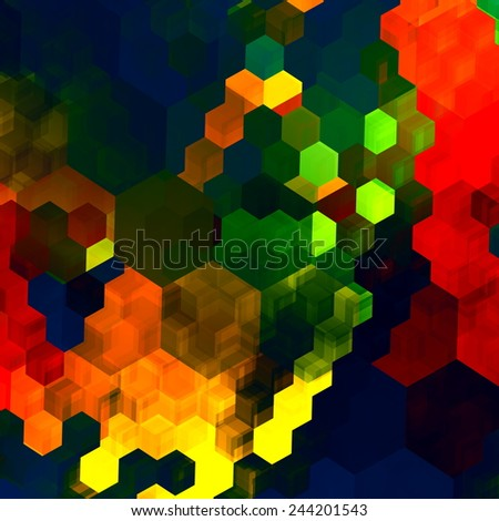 Mosaic Abstract Background - Red Green Blue Colorful Chaotic Pattern - Color Palette - Graphic Art Design - Rainbow Colours - Computer Generated - Chaos Concept - Surreal Fantasy Texture - Hexagonal - stock photo