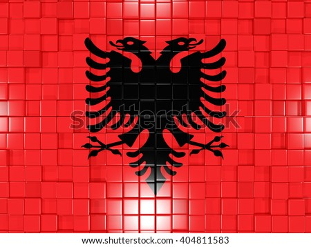 Mosaic background with square parts. Flag of albania. 3D illustration - stock photo