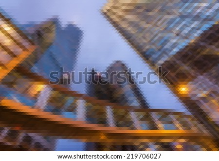 Mosaic city scenery of Hong Kong, concept of urban background. - stock photo