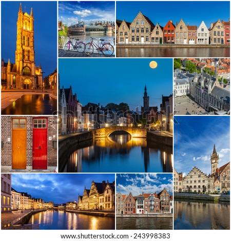 Mosaic collage storyboard of Belgium tourist views travel images - stock photo