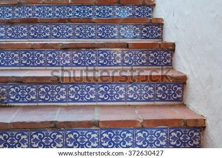 Mosaic decorative pattern Spain Alhambra - stock photo