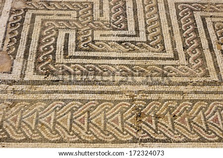 Mosaic floor in the Roman ruin Italica  Province Seville, Andalusia, Spain - stock photo