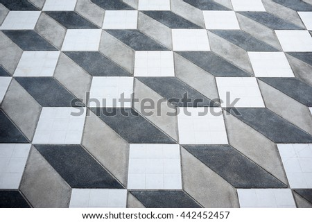Mosaic floor looks like three dimensional. but is flat ,Wonder of floor. 3D ,Abstract background  - stock photo