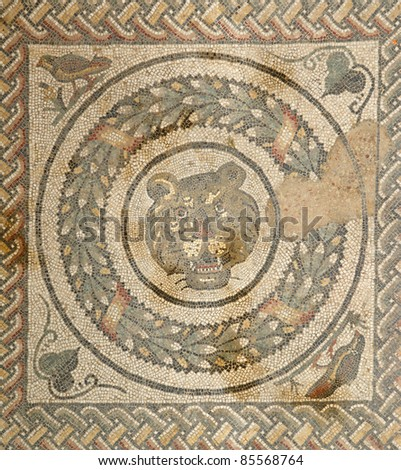 Mosaic fragment Roman Villa Romana del Casale, Sicily. UNESCO World Heritage Site. The first photographs after the discovery in April 2011. - stock photo