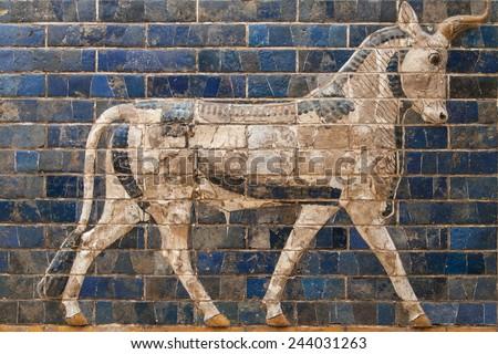 Mosaic of a Bull on the Ishtar Gate, Istanbul, Turkey. - stock photo