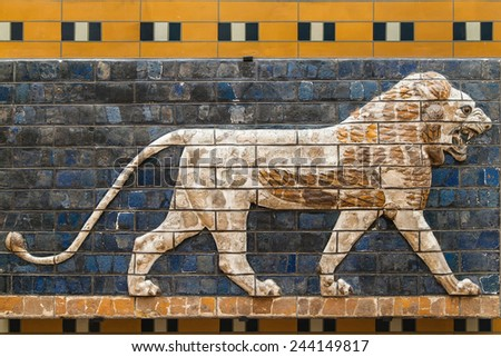 Mosaic of a Lion on the Ishtar Gate, Istanbul, Turkey.  - stock photo