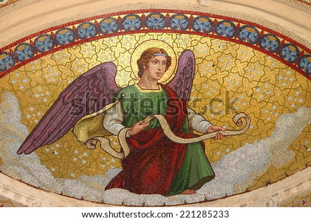 Mosaic of an angel - stock photo
