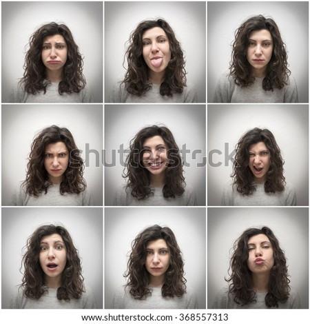 Mosaic of different girl expressions - stock photo