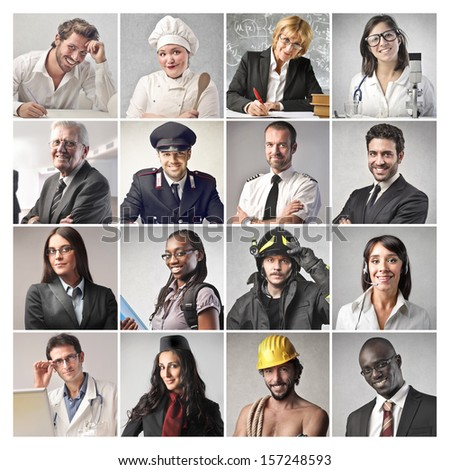 mosaic of people doing different professions - stock photo