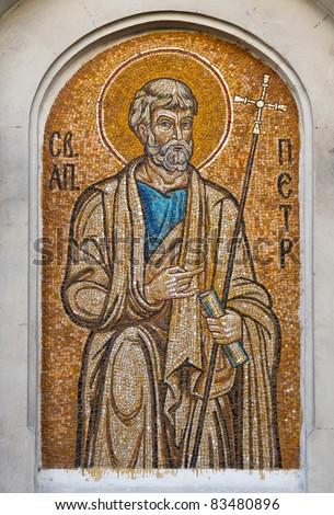 Mosaic of Saint Peter the Apostle. Orthodox church in Sevastopol Ukraine - stock photo