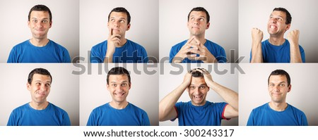 mosaic of young man expressing different face expressions - stock photo