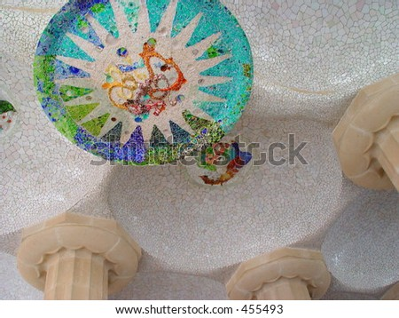 Mosaic on ceiling in Parc Guell, Barcelona - stock photo