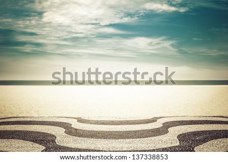 Mosaic on Copacabana Beach in Rio de Janeiro, Brazil - stock photo