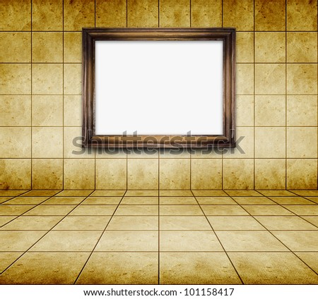 mosaic room, gold background and photo frame on wall - stock photo