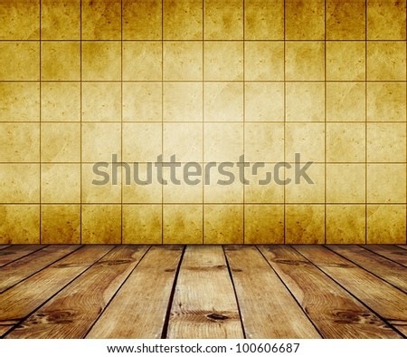 mosaic room, gold background with wood floor - stock photo
