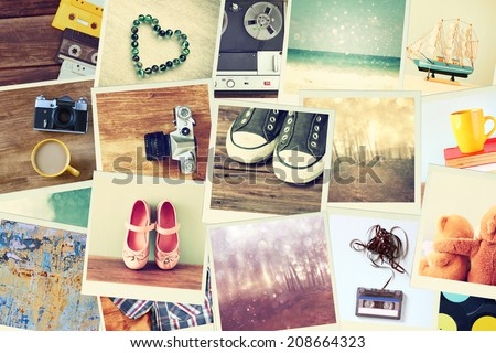 mosaic with pictures of different objects.  collage with retro effect.   - stock photo