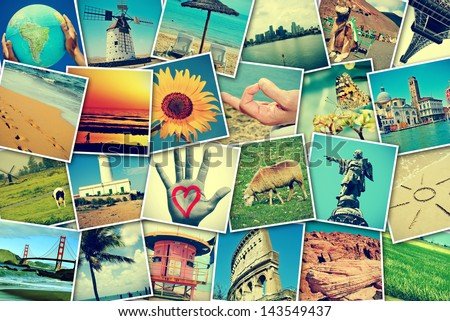 mosaic with pictures of different places and landscapes, shot by myself, simulating a wall of snapshots uploaded to social networking services - stock photo