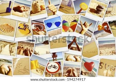 mosaic with pictures of different summer scenes in vintage style. - stock photo